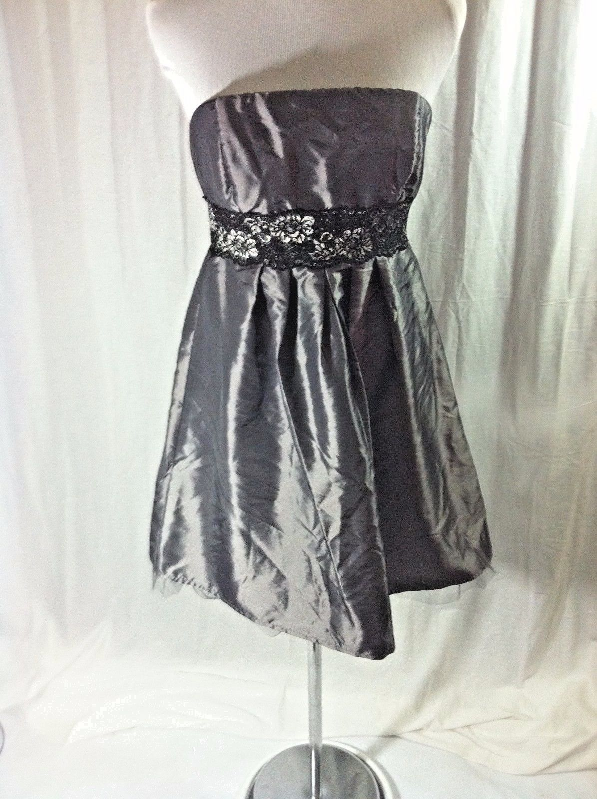 Cool great xoxo gray cocktail dress formal new lace trim short