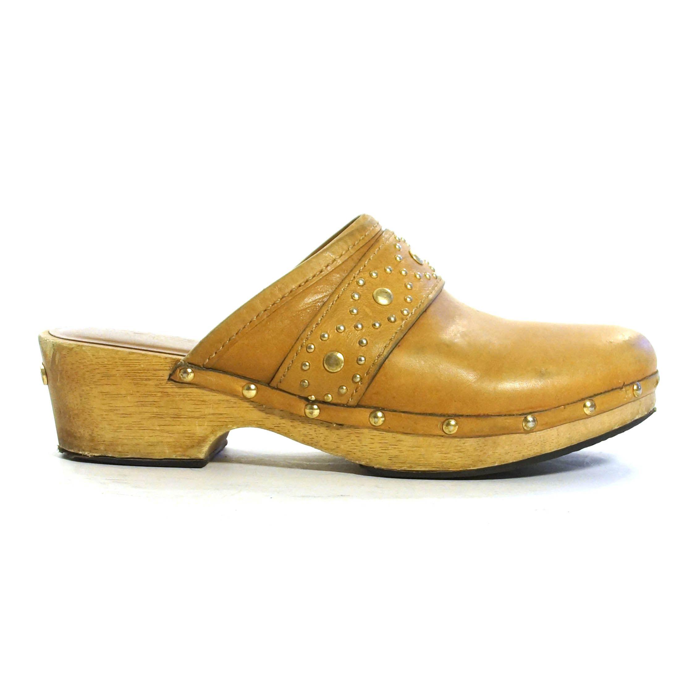 0990f13918dd3 Michael Kors Wooden Clogs Vintage 90s Slip On Brown Leather Block ...