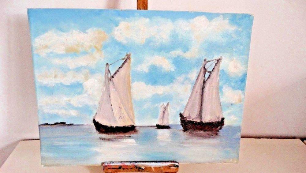 Peinture huile sur toile marine voilier bateaux