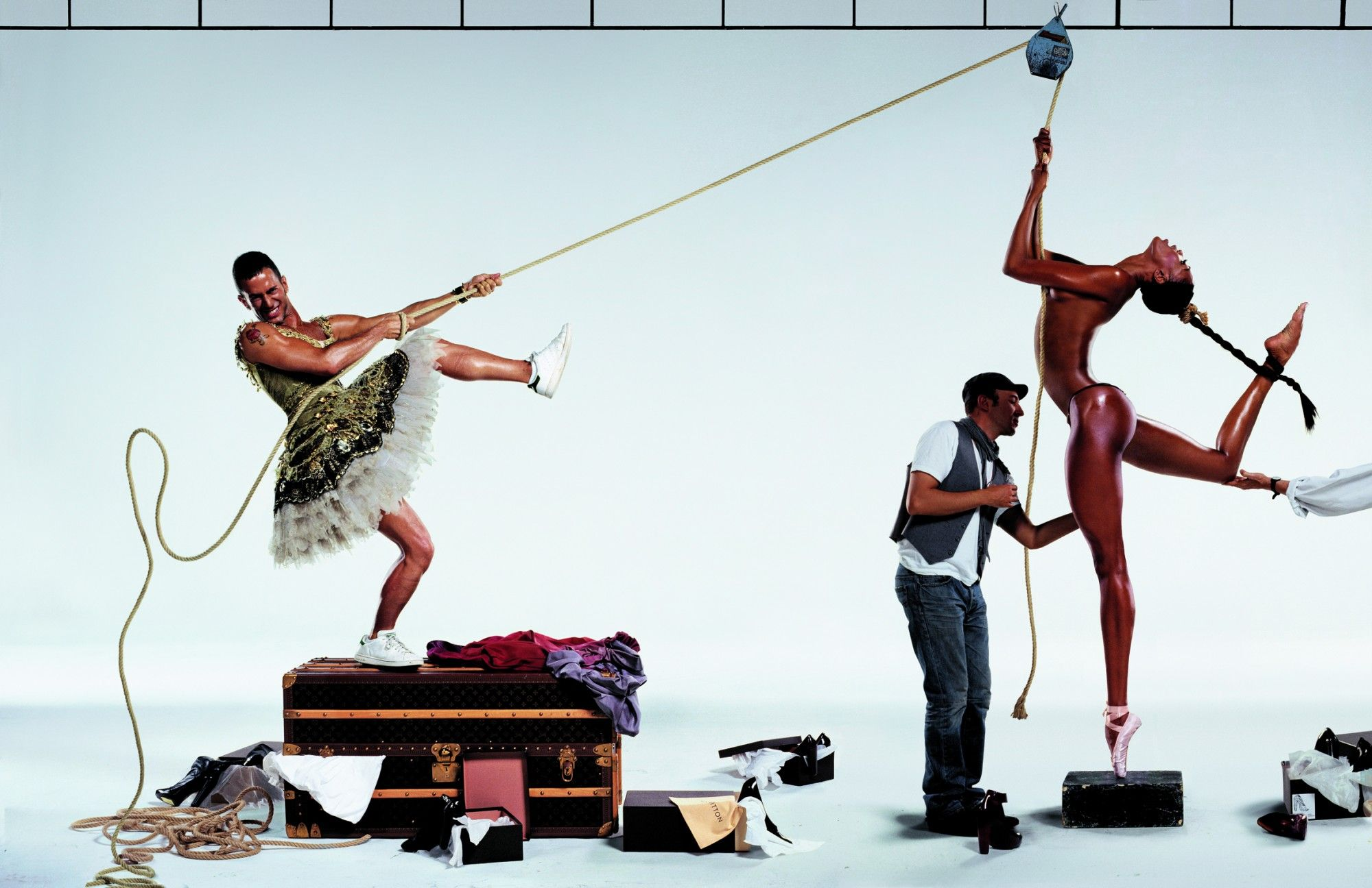 Marc Jacobs and Naomi Campbell photographed by Jean-Paul Goude for Harper's Bazaar: 'Marc on Top', September 2007.