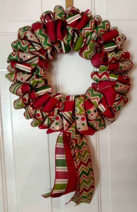 Photo of Ribbon wreath, Christmas, autumn, spring, summer, door decor, frame of your choice of ribbon colors