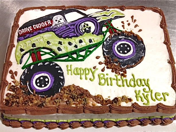 Grave Digger Cake With Images Digger Birthday Parties Trucks