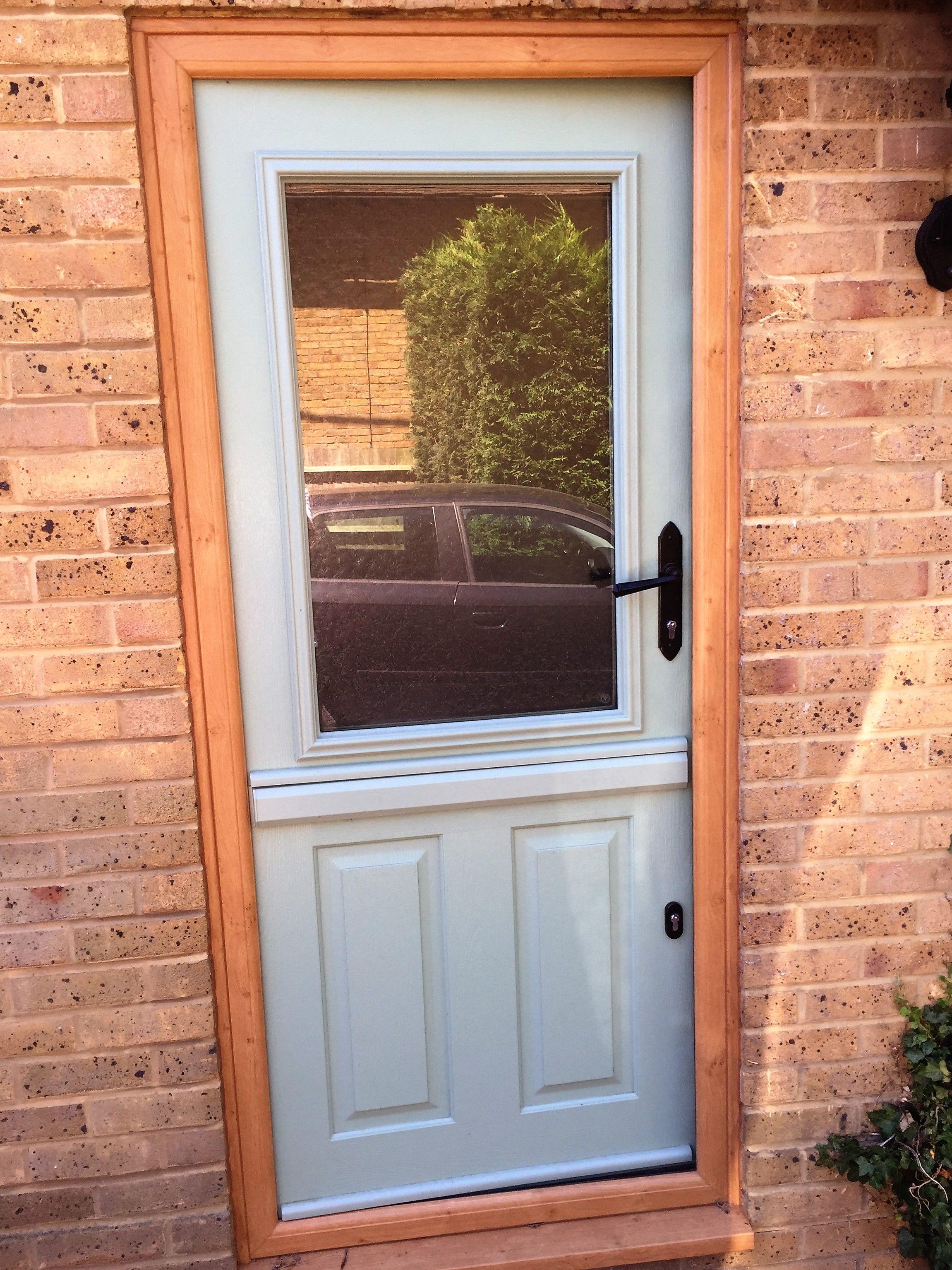 Composite Duck Egg Blue Stable Door Front Door Black Hardware Oak