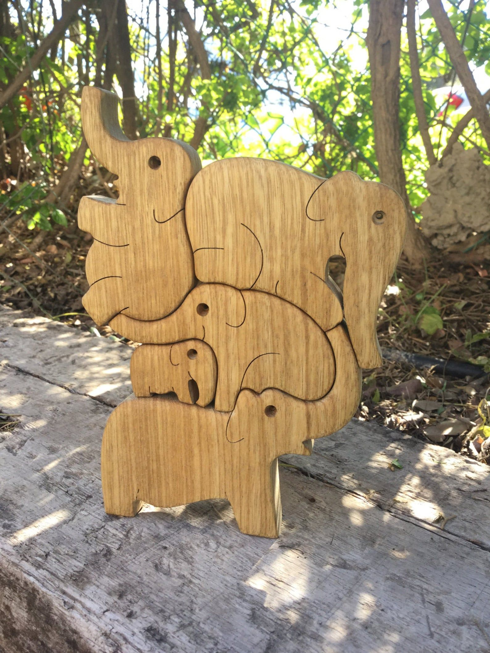 Elephants puzzle wooden tower puzzle pyramid wooden game