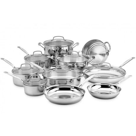 Chef S Classic Stainless Cookware Set 17 Piece Set
