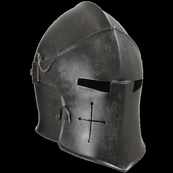 Epic Dark Visored Barbuta Helmet 166 Hides Glasses Leather Armor Helmet Armor Medieval Armor