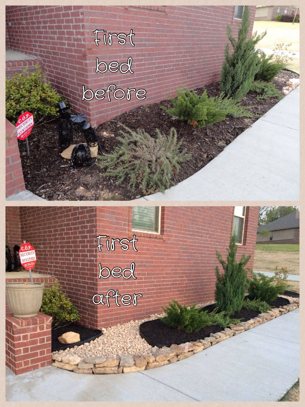 Finally finished the black mulch and tan rock Mulch