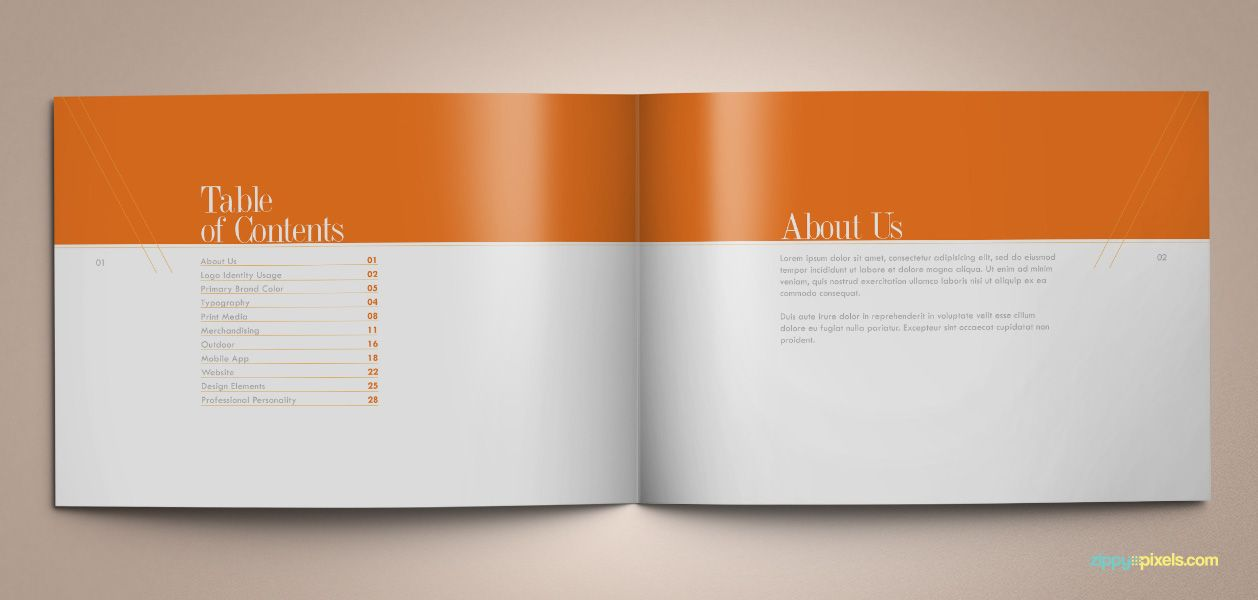 The original orange brand book template for brand for Free brand guidelines template