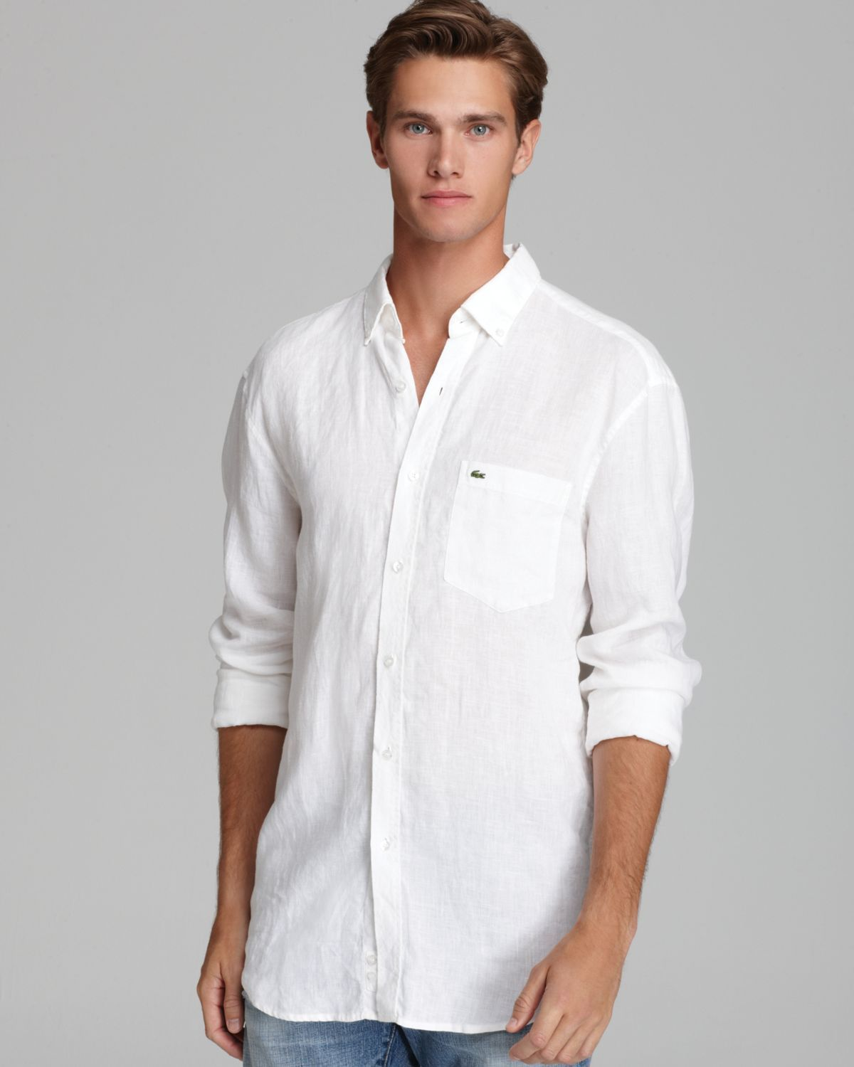 lacoste linen sport shirt classic fit in white for men lyst   MODELS ... de18687bf36