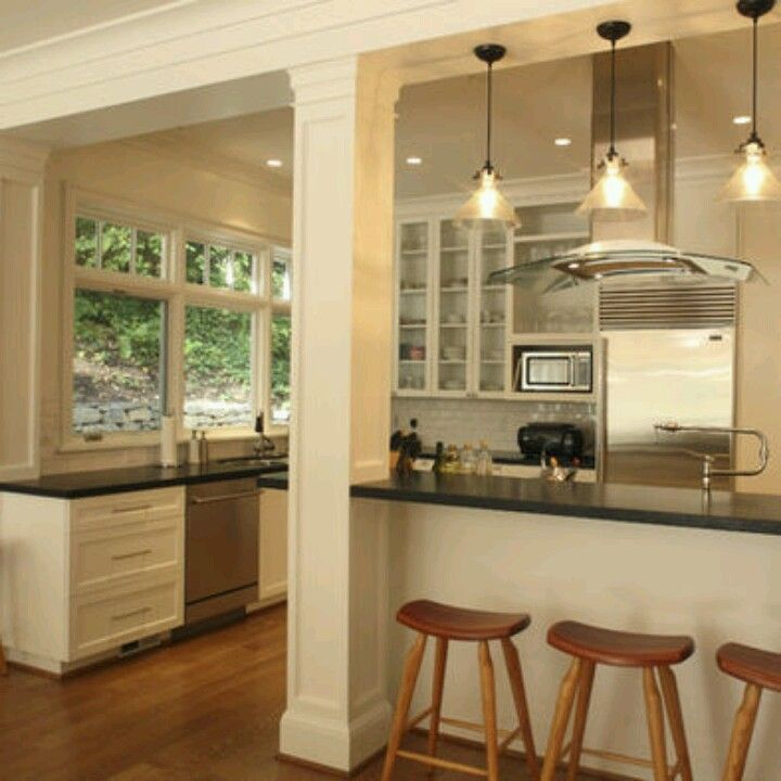 Half Open Kitchen Design: The Structural Beam And Support Column Were Integrated