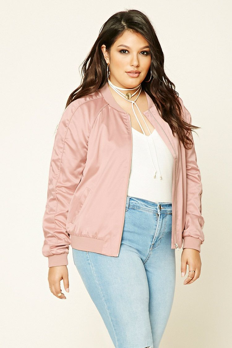 e25ffc2f6cd15 Plus Size Satin Bomber Jacket