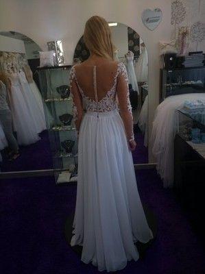 Suknia Slubna Muslin Siatka Transparentna Koronka 6946056961 Oficjalne Archiwum Allegro Formal Dresses White Formal Dress Dresses