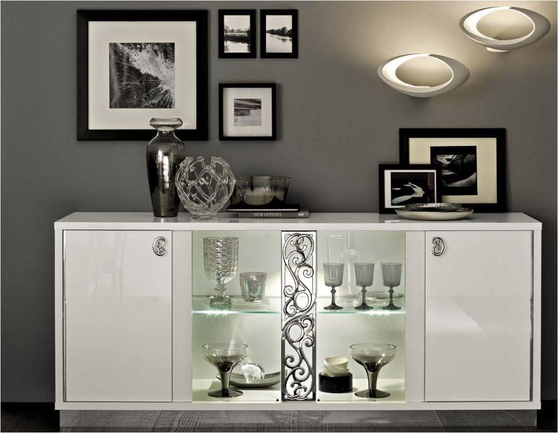White Walnut High Gloss Italian Furniture Dining Room Accents Crockery Unit Design Classic Dining Room