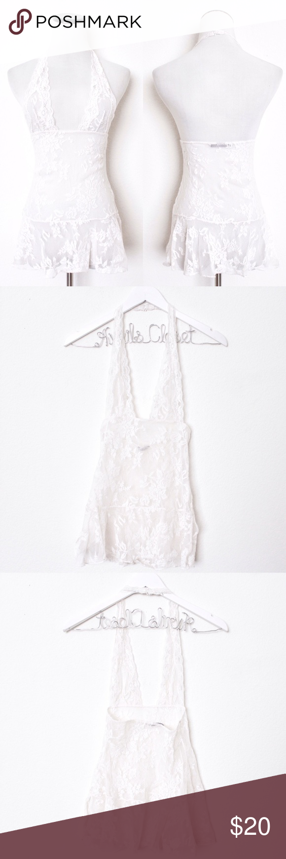 "White Lace Ruffle Halter Teddy Victoria's Secret ⑊ no size tag (but I'm sure it's XS)  ⌁ Measurements: 25"" length 12"" under bust line 6.5"" X 3"" cups  ⌁ Material: 100% nylon  ⌁ Condition: Used once. No visible wear. Great condition!  ⌁ Note: Ruffle has a slit on one side.  Comment below if you have any questions. Please make all offers using the ""offer"" button. No trades. No holds. Comes from a smoke-free/pet-free home. Not responsible for lost/damaged mail. All sales are final. ♡ Victoria's…"