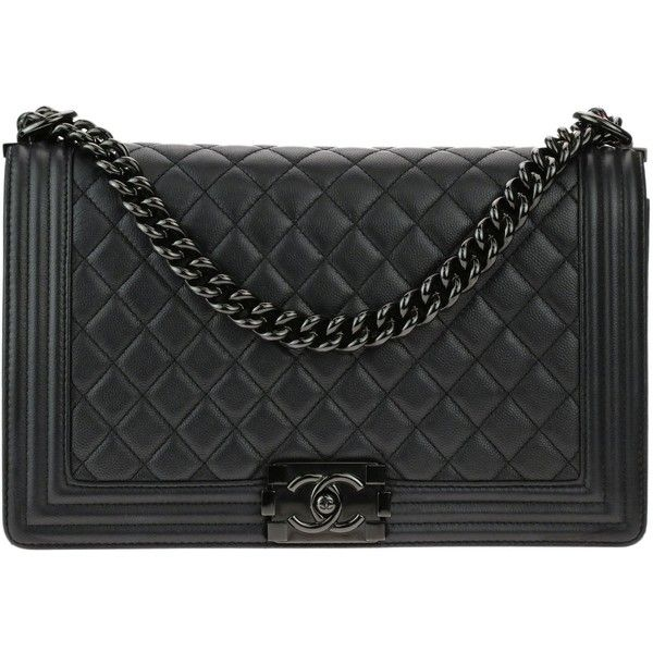 Pre Owned Chanel New Medium So Black Caviar Leather Iridescent Boy Bag 5 895 Liked On Polyvore Featuring Bags Handbags Flap Purse