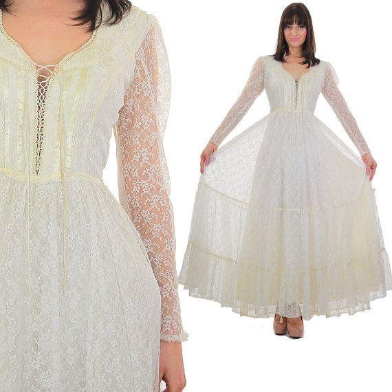 70s white Gunne Sax dress Boho maxi dress by SHABBYBABEVINTAGE ...
