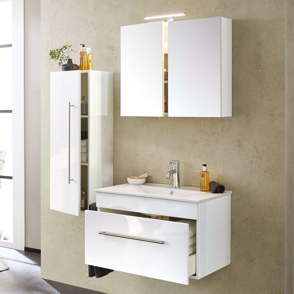 Badmöbel-Set (5-teilig) komplett inkl. LED-Lampe weiß hochglanz 75cm