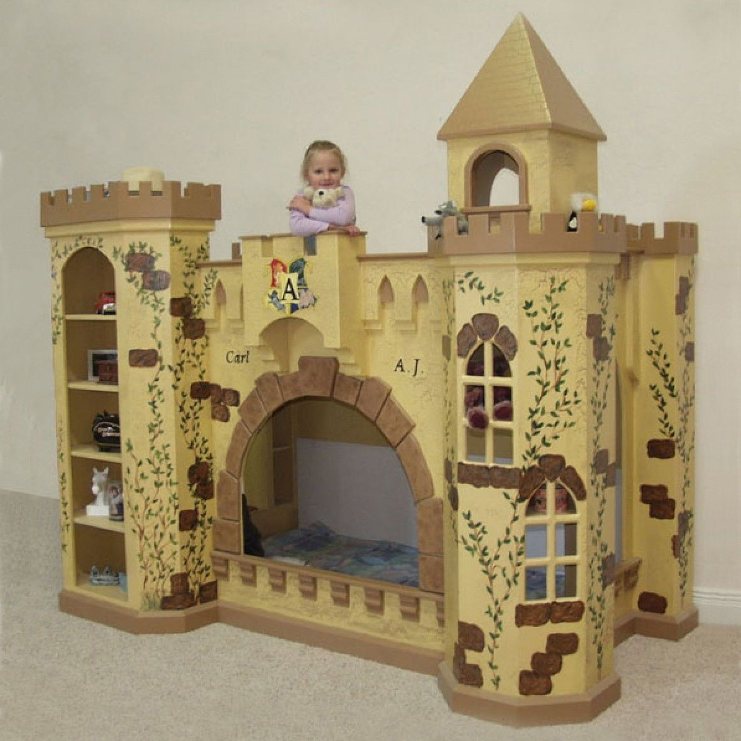 Kids loft bed with slide plans - Princess Bunk Bed Playhouse Castle Bunk Bed Loft Hand Painted
