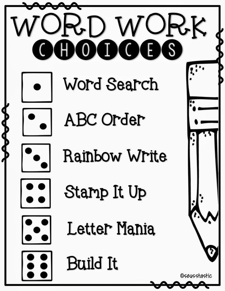Tons of FREE word work activities to use with any words