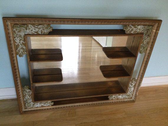 Mirrored Shadow Box Wood Mirrored Wall Shelf Curio Shelf