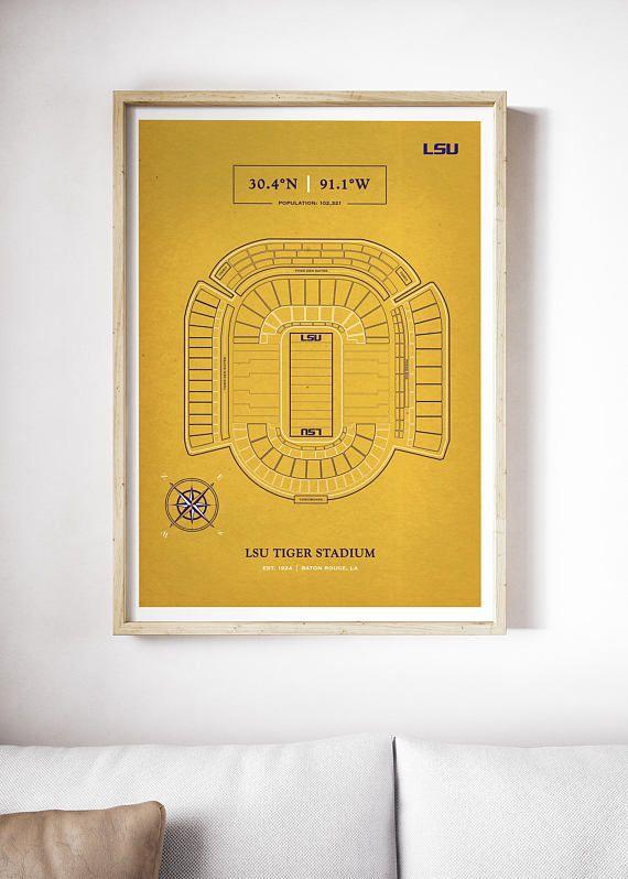 Yellow LSU Tiger Stadium Print Death Valley LSU Tigers Art LSU - fresh architecture blueprint posters