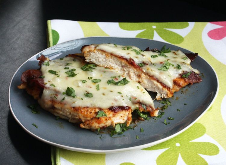 Baked BBQ Pepper Jack Chicken with Bacon