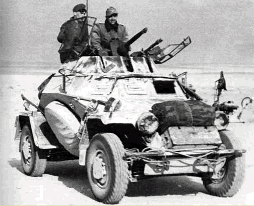 German 4 wheeled Sdkfz armoured car: with the desert terrain allowing wide freedom of manoeuvre, efficient reconnaissance forces providing early warning of the enemy's movements and locations were critical to Commanders on both sides.