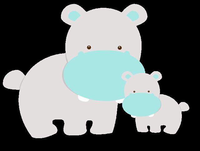 Mom And Baby Animals Hipopotamo Animales De La Selva Baby Shower
