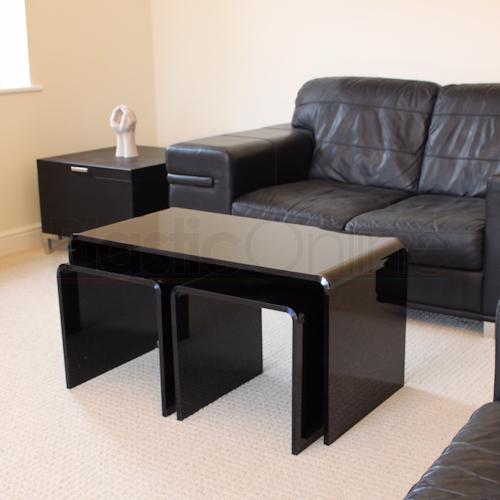 Futuristic Black Acrylic Coffee Table Nest Furniture Design Plastic