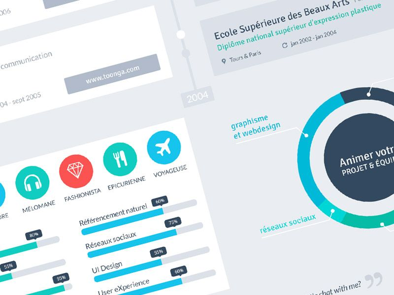 dribbble resume flat design timeline by marie dehayes