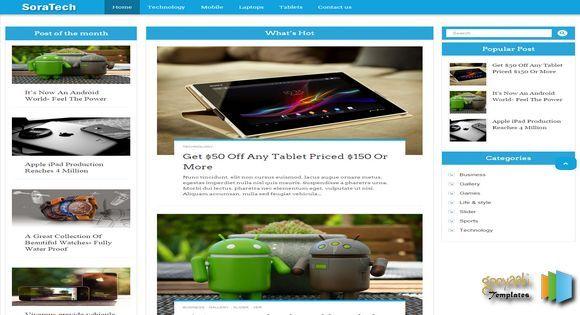 Sora Tech Responsive Blogger Template | Web graphics theme wp free ...