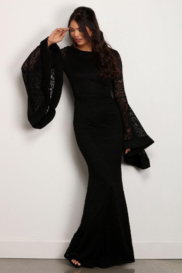 Final sale emma black bell sleeve dress sleeved dress yule ball