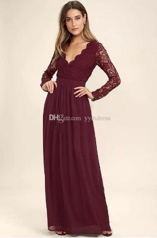 Burgundy Chiffon Bridesmaid Dresses Long Sleeves Western Country ... da005d5067a6