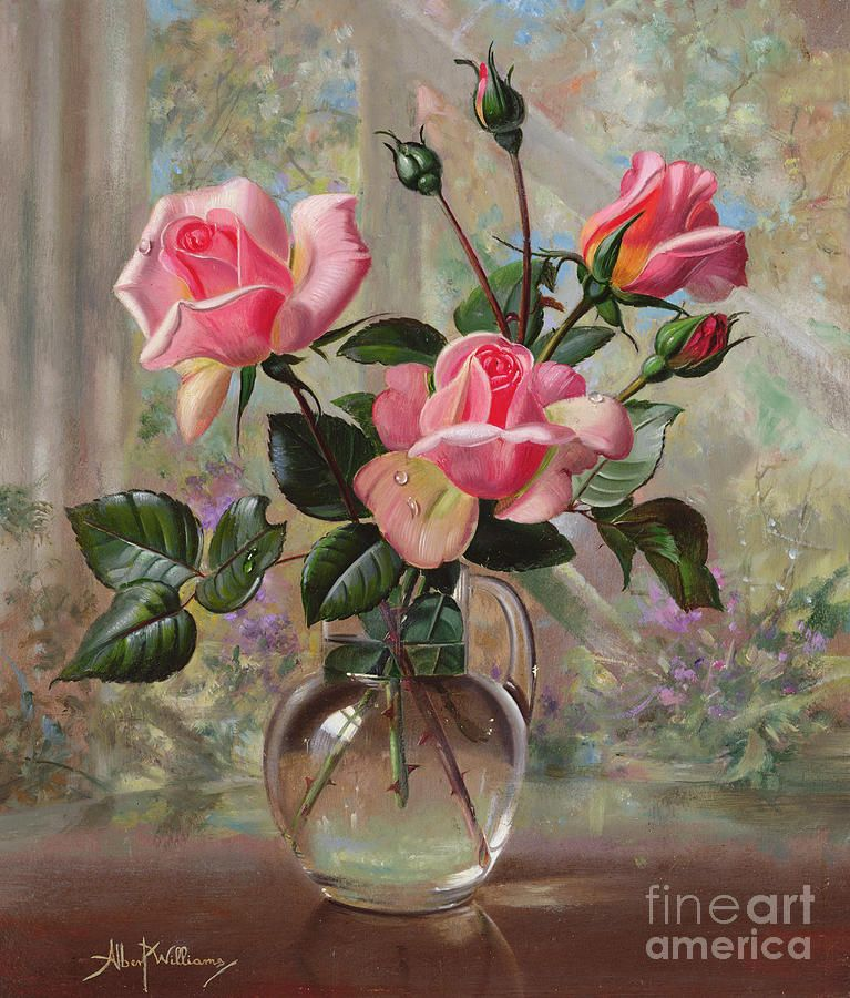 Madame Butterfly Roses In A Glass Vase By Albert Williams Oil Painting Flowers Rose Painting Flower Painting