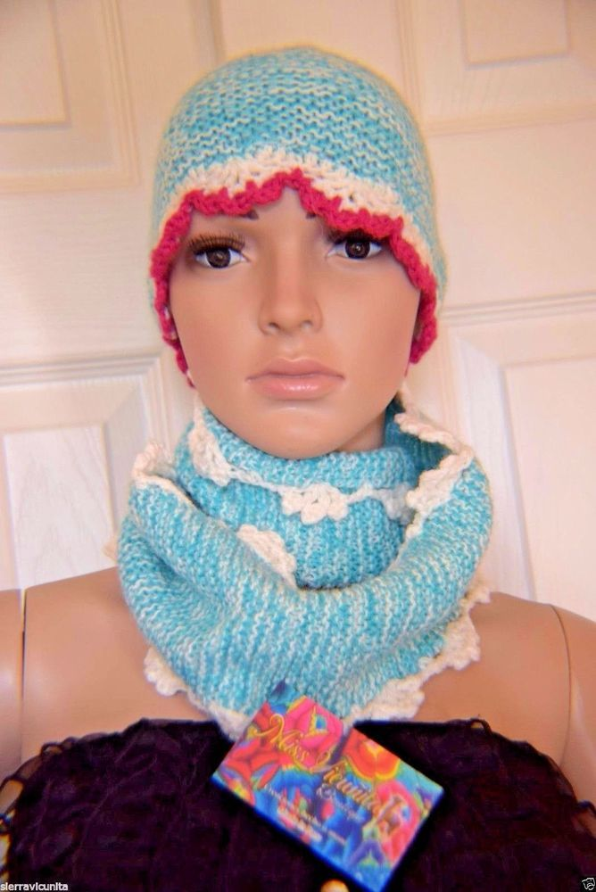 03e5c69c NWT BABY ALPACA INFINITY SCARF AND HAT TURQUOISE AND WHITE-FUCHSIA COLOR…