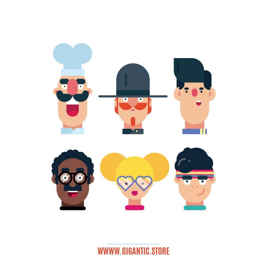 100 Flat Design Characters Download Vector Files Character Design Face Illustration Character Design Tutorial