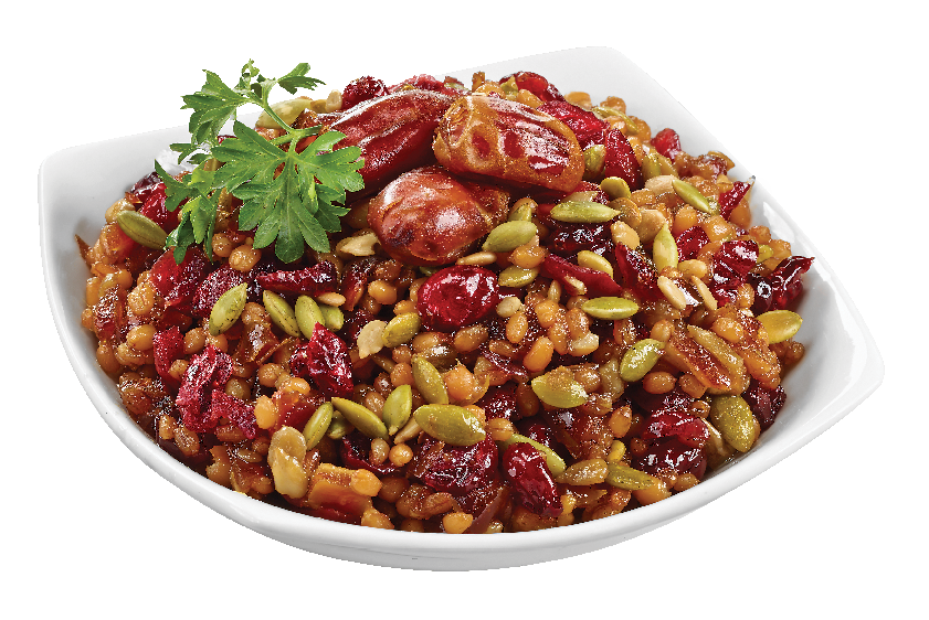 Organic Wheat Berry and Roasted Seeds Salad with Pitted Dates and Cranberries in Maple Vinaigrette from #YummyMarket