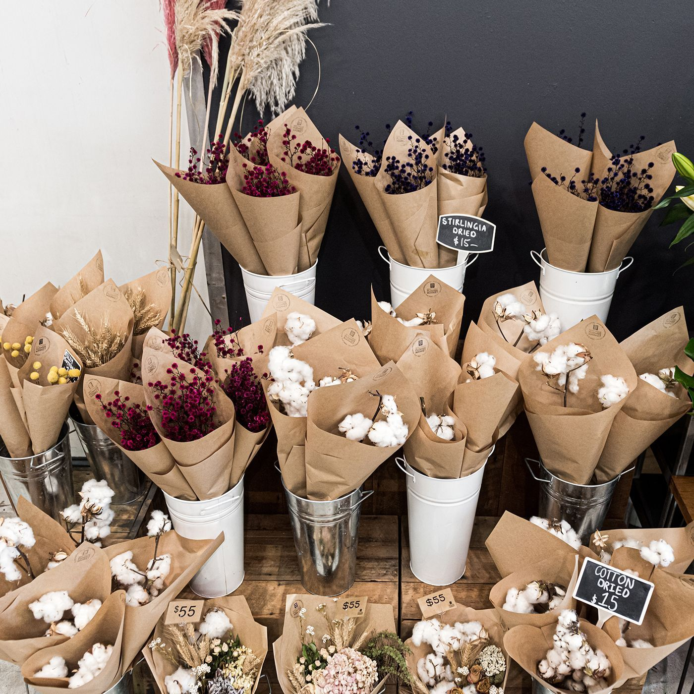 Our Range Of Dried Flowers Is Growing From Billy Buttons And Pampas Grass To Cotton Strilingia And More Dried Flower Bouquet Flowers Bouquet Gift Flower Bar