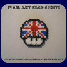 Magnet champignon drapeau anglais - bead sprite | Art perle, Pixel art, Pixel
