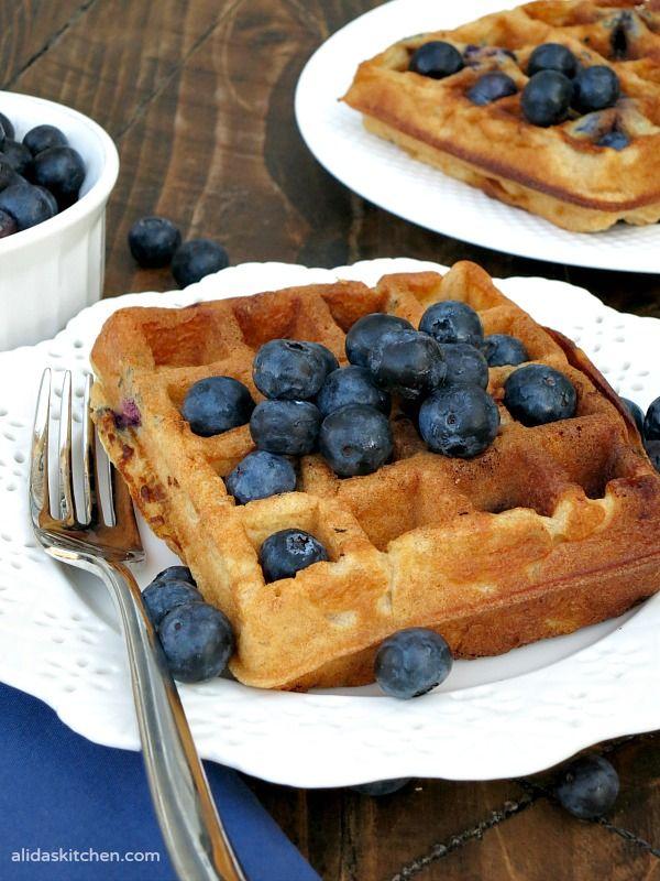 Blueberry Buttermilk Waffles Sundaysupper Alida S Kitchen Recipe Dessert Recipes Easy Blueberry Recipes Waffle Ice Cream Sandwich