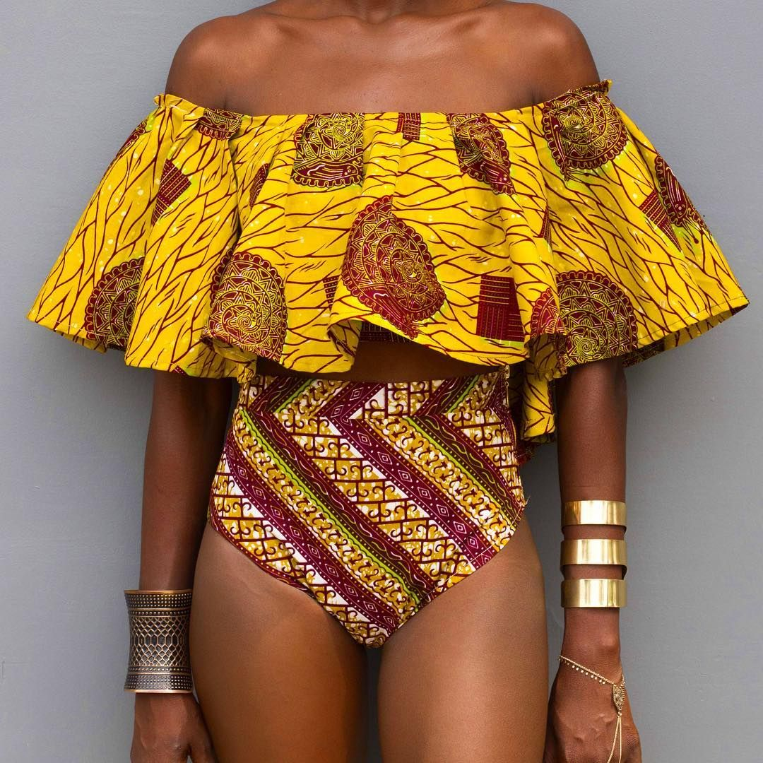 bbbd852868b44 PLAVKY Sexy Yellow Aztec Striped Ruffled Off Shoulder Biquini African  Bathing Suit Swimsuit Swimwear Women High
