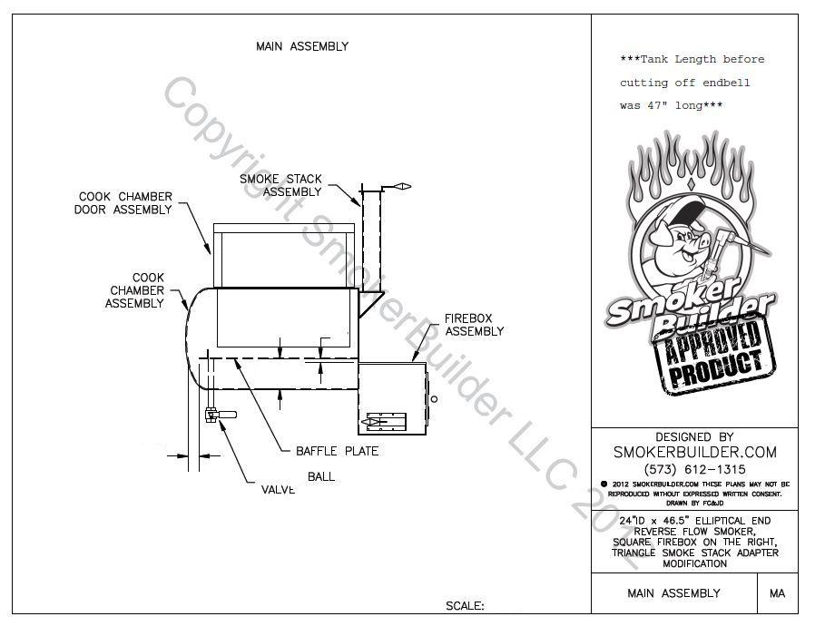 24 u0026quot  diam by 46 5 u0026quot  long reverse flow smoker plans firebox right