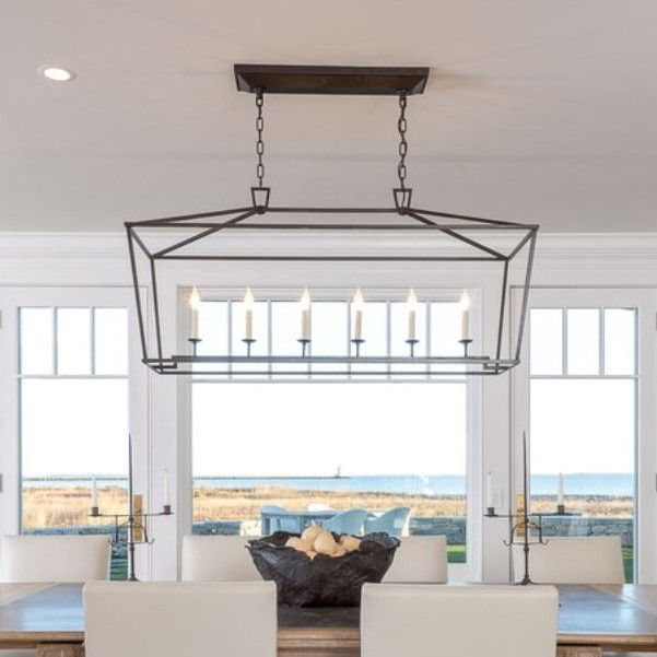 "Kitchen Island With Darlana Chandelier: Darlana Linear Pendant"" From Circa Lighting."