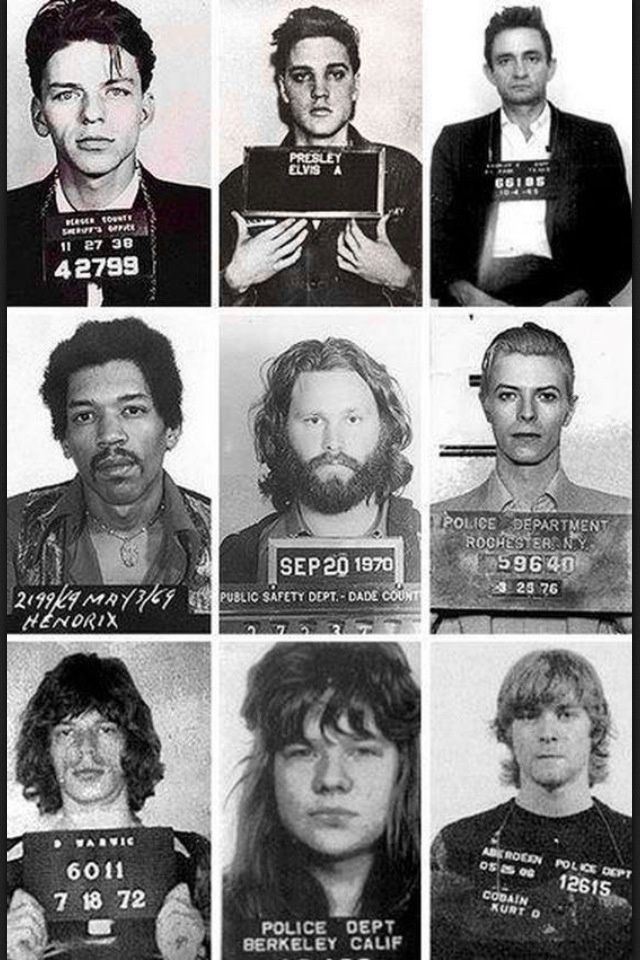 Musicians mugshots: Top: Frank Sinatra, Elvis Presley, Johnny Cash, Middle: Jimi Hendrix, Jim Morrison (the Doors), David Bowie, Bottom: Mick Jagger (the Rolling Stones), Janis Joplin, Curt Kobain (Nirvana)
