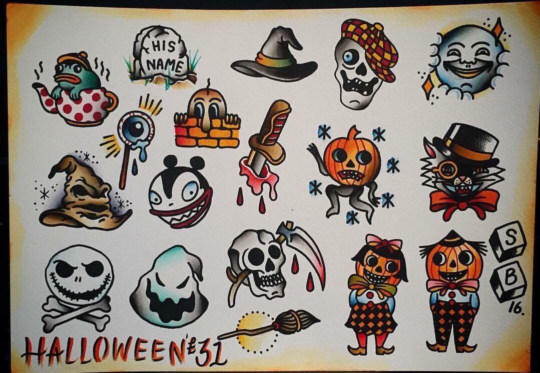 31 Halloween Tattoos At Tlc Tattoo Piercing Traditional Flash Sheet By Simon Halloween Tattoos Spooky Tattoos Horror Tattoo