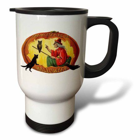 3dRose Vintage the Mysteries of Halloween Witch in a Pumpkin with her broom Owl and Black Cat, Travel Mug, 14oz, Stainless Steel