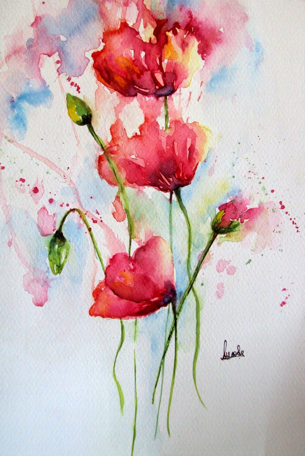 Poppy Poppies Flowers Floral Watercolor Watercolour Painting
