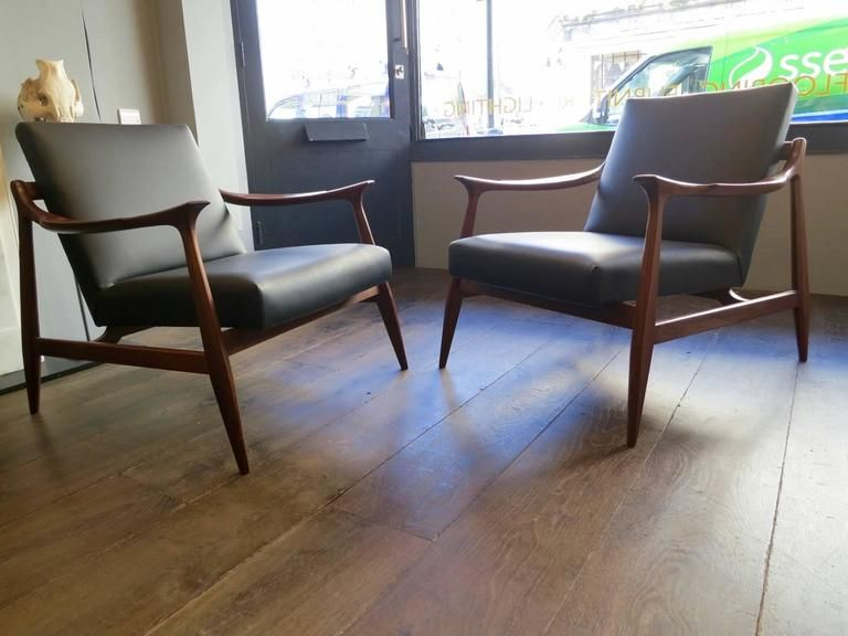 mid century modern leather side chair