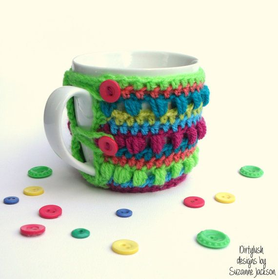Mug cup cosy sleeve crocheted crochet handmade coffee tea by DirtyLush on Etsy, $16.00