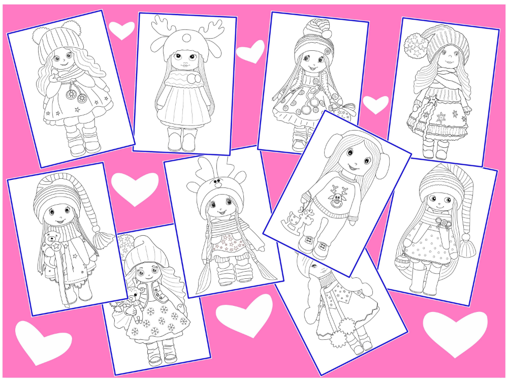 Winter Christmas Printable Doll Coloring Pages Xmas Colouring Etsy Christmas Printables Scrapbooking Stamps Coloring Pages
